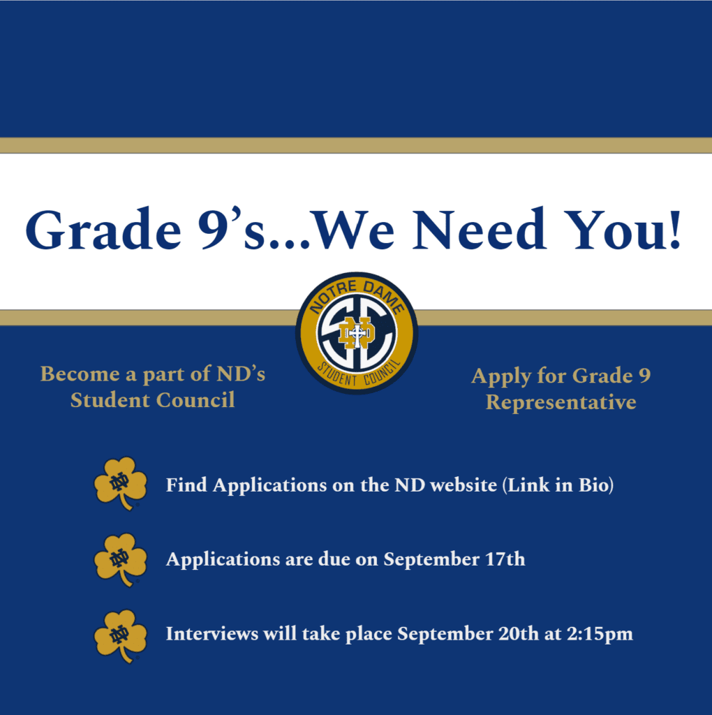 Grade 9 Student Council Reps Needed!