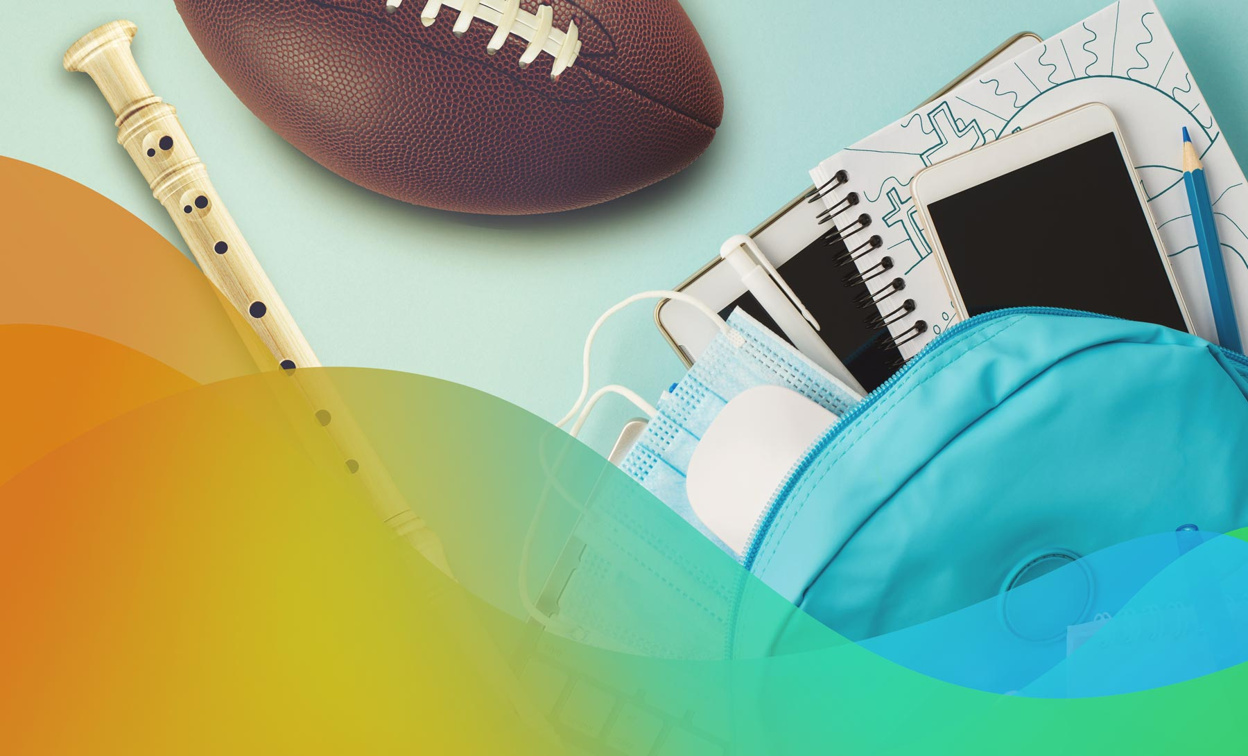 School backpack with football and flute