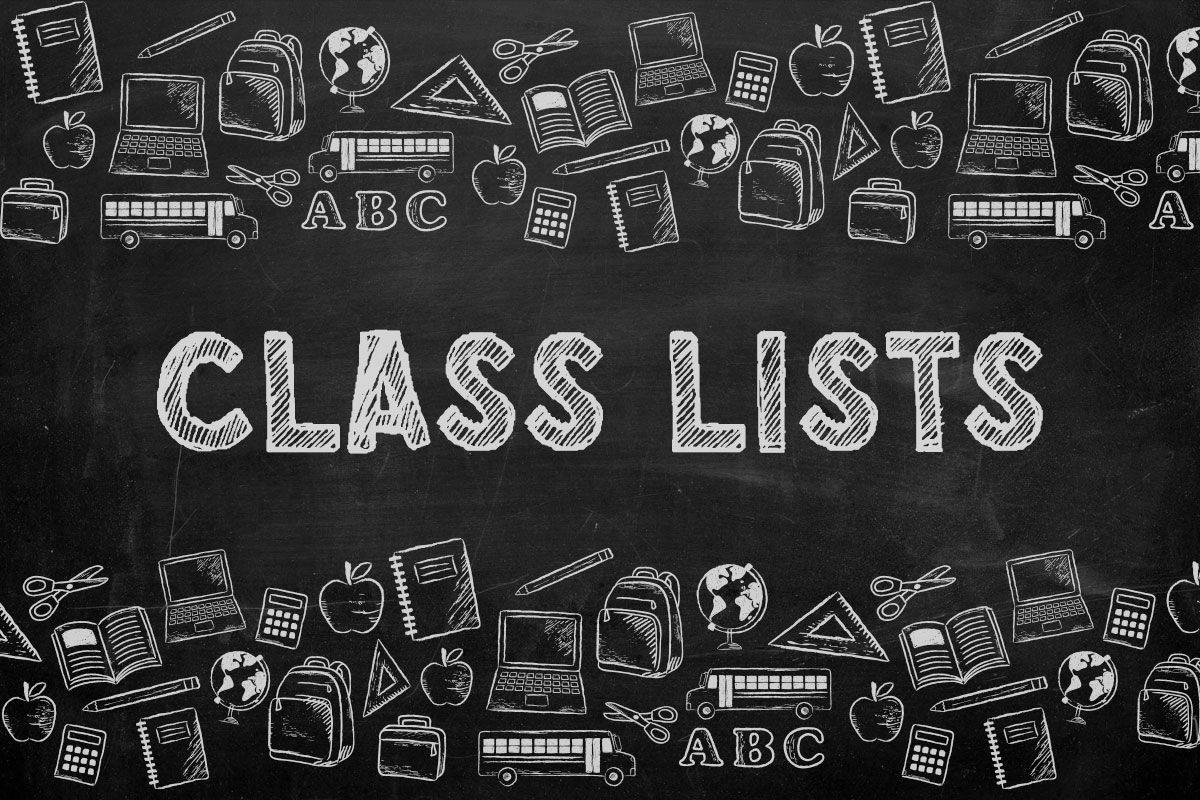 Class Lists Available Friday, September 3rd